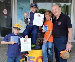 Gene Kranz with Boyscout Rocket Award Winners.